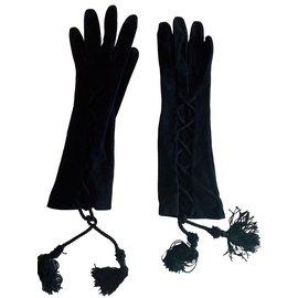 Moschino-Gants en suede-Noir