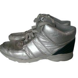 Chanel-Sneakers-Silvery,Blue
