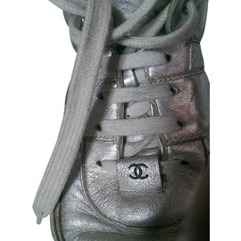 Chanel-Sneakers-Silvery,Blue