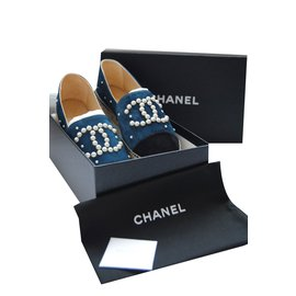Chanel-Espadrilles-Black,Light blue
