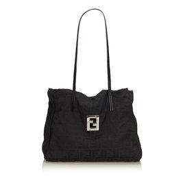 288eb423350e Fendi-Zucchino Canvas Tote Bag-Black ...