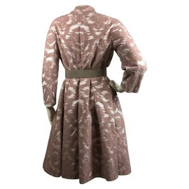 Christian Dior-Manteau en mohair avec ceinture en cuir-Rose,Taupe