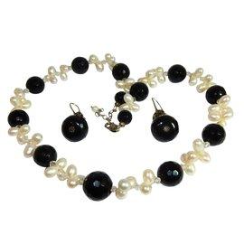 Autre Marque-Collier et boucles d'oreilles Perles de cultures-Noir,Blanc