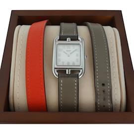 Hermès-MONTRE HERMES CAPE COD PM-Orange,Taupe