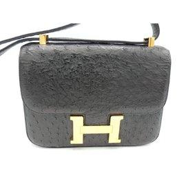 Hermès-Constance in ostrich-Black