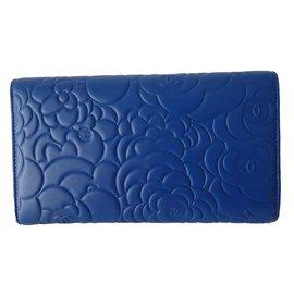 Chanel-PORTEFEUILLE CAMELIA-Bleu,Gris