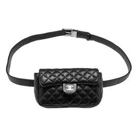 Chanel-TIMELESS CLUTCH ON BELT BLACK-Black