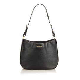 Burberry-Leather Shoulder Bag-Black