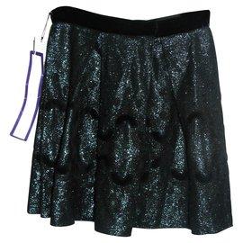 Anna Sui-Metallic thread skirt-Black,Metallic,Dark green