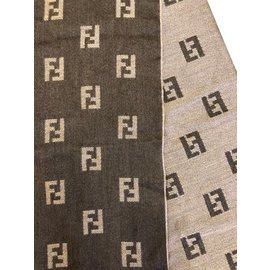 Fendi-Foulard monogramme FF-Marron