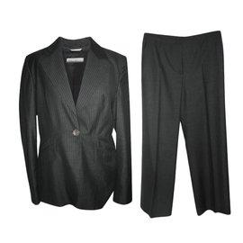 Max Mara-Costume de pantalon à fines rayures-Gris anthracite