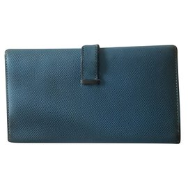 Hermès-Portefeuille bearn-Bleu clair