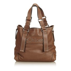 Chloé-Leather Nova-Brown,Dark brown
