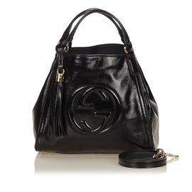 Gucci-Sac Patent Soho à poignée sur le dessus-Noir