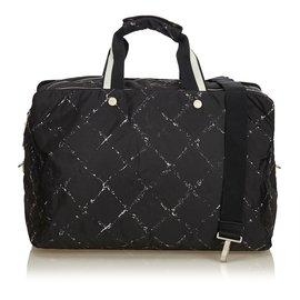 Chanel-Vieux sac de voyage en jacquard-Noir,Blanc