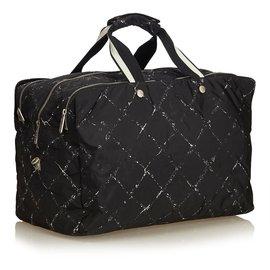 Chanel-Old Travel Line Jacquard Bag-Black,White