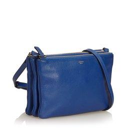 Céline-Petit sac trio en cuir-Bleu