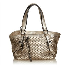 Burberry-Weaved Metallic Leather Tote Bag-Golden