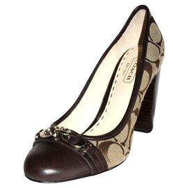 Coach-Monogram print pumps-Beige,Dark brown