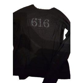 Ikks-Women's V-neck sweater back pattern 616-Black