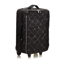 Chanel-Vieux chariot de voyage-Noir,Blanc