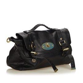 Mulberry-Leather Alexa Satchel-Black