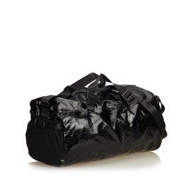 Chanel-Sac de sport en toile enduite-Noir,Gris