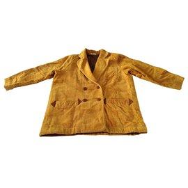 Issey Miyake-Double Breasted Jacket Blazer-Caramel