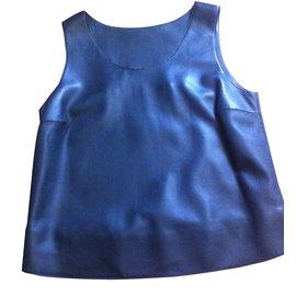 Hermès-Top en cuir-Autre,Gris anthracite