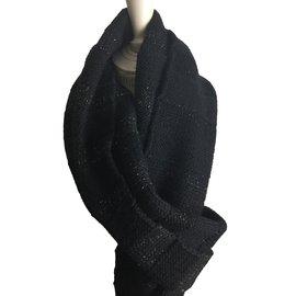 Bel Air-Echarpe noire laine noir fils dorés-Noir