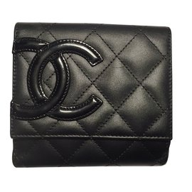 Chanel-Chanel Cambon Compact Wallet Purse-Black