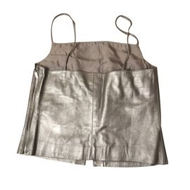 Chanel-Leather top. Value of EUR 1000-Silvery