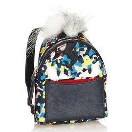 Fendi-Charme de sac, sac à dos Mini Monster-Multicolore,Jaune