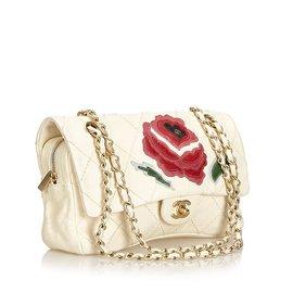 Chanel-Rabat en peau d'agneau à points sauvages avec appliques roses-Blanc,Multicolore,Écru