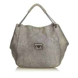 55db62d66a0f Alexander Mcqueen-Textured Leather Hobo Bag-Green