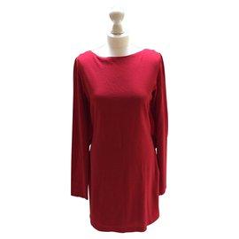 Halston Heritage-Cape Dress-Dark red