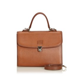 Burberry-Leather Satchel-Brown