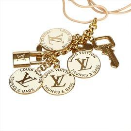 Louis Vuitton-Tour de cou pendentif métallique-Marron,Beige,Doré