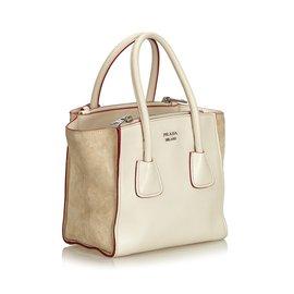 Prada-Leather Twin Handbag-White