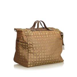 Chanel-Travel Line Jacquard Bag-Brown,Khaki,Dark brown