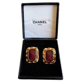 Chanel-Boucles d'oreilles en Plaqué Or Jaune-Bordeaux