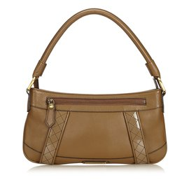 Burberry-Leather Baguette-Brown
