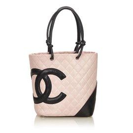 Chanel-Cambon Ligne Tote-Noir,Rose,Autre