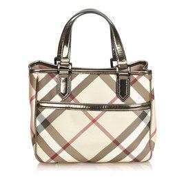 Burberry-Plaid Handbag-Brown,Multiple colors,Beige