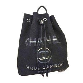 Chanel-Sac à dos deauville-Bleu Marine