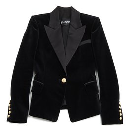 Balmain-Veste en velours noir-Noir