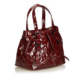 Burberry-Patent Leather Satchel-Red,Dark red