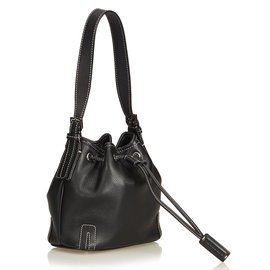 Burberry-Leather Drawstring Bucket Bag-Black