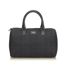 Burberry-Plaid Boston Bag-Black,Grey