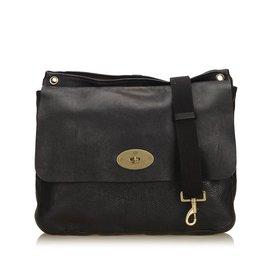 Mulberry-Leather Messenger Bag-Black